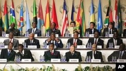 African heads of state and various country representatives attend the opening session of the 17th African Union Summit, at the Sipopo Conference Center outside Malabo, Equatorial Guinea, June 30, 2011.