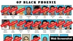 FBI vừa tung chiến dịch Phượng Hoàng Đen bắt giam 18 nghi phạm, đa phần là người gốc Việt, trong đường dây buôn lậu súng và ma túy, ngày 15/09/2020. Photo FBI via CBS Los Angeles.
