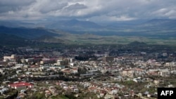 FILE - A view of Stepanakert, the unrecognized capital of Armenian-seized Azerbaijani region of Nagorno Karabakh on April 4, 2016.