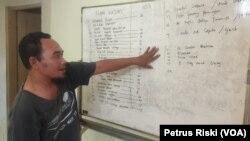 Fatkhul Khoir dari KontraS Surabaya menunjukkan daftar pengunjuk rasa RUU Cipta Kerja yang diamankan polisi, di Surabaya, Jawa Timur, Kamis, 15 Oktober 2020. (Foto: Petrus Riski/VOA)