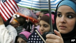 "Muslim Americans listen to a speaker at the ""Today, I Am A Muslim, Too"" rally in New York City (File)"