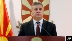 FILE - Macedonian President Gjorge Ivanov addresses the nation from the presidential office in Skopje, Macedonia, May 27, 2016.