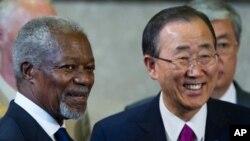 kakakin Majalisar Dinkin Duniya Ban Ki-moon, da tsohon skataren, Kofi Annan.