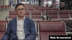 周永勤在機場禁區接受壹周刊訪問(壹傳媒圖片)