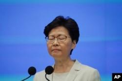 香港特首林鄭月娥舉行記者會。 (2019年6月18日)