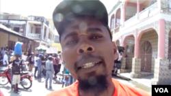 PetroChallengers protest leader in Les Calles, Carvens Laguerre, June 7, 2019. (J.H. Eliscar/VOA)