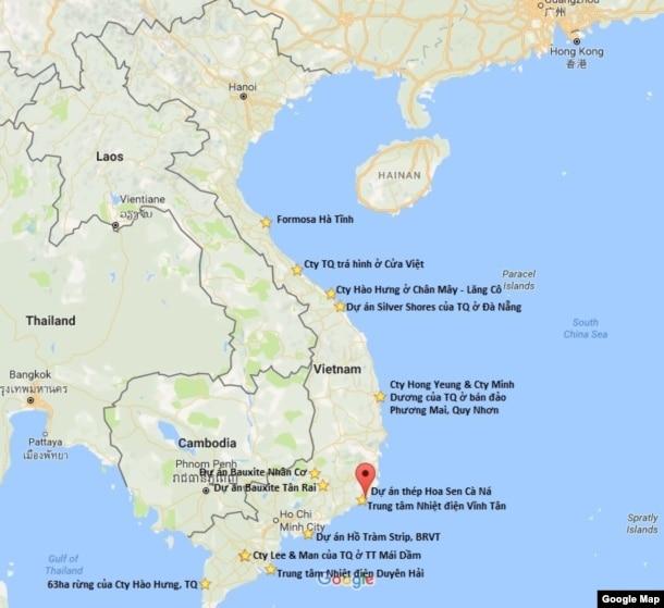Dự án Hoa Sen Cà Ná và các căn cứ khác của TQ từ Hà Tĩnh trở vào. Xin lưu ý thêm, Campuchia giờ đã trở thành một căn cứ khổng lồ của TQ, còn Lào thì đang ngả dần về phía Bắc Kinh.
