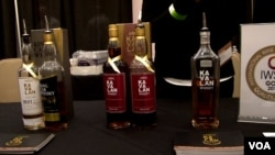 View of various bottles of Kavalan whisky at the WhiskyFest in Washington, D.C.
