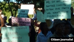 MDC-T supporters demonstrating in Mutare over the disqualification of an aspiring primary elections primary elections