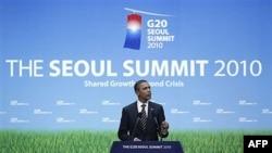 Tổng thống Barack Obama phát biểu trong cuộc họp báo tại hội nghị thượng đỉnh G20 ở Seoul, Hàn Quốc, 12/11/2010