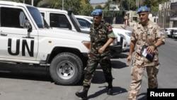 20일 시리아 다마스쿠스에서 철수하는 유엔 감시단.