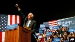 Ứng cử viên tổng thống của đảng Dân chủ Thượng nghị sĩ Bernie Sanders trong một cuộc vận động tranh cử ở Laramie, Wyoming, thứ Ba ngày 5 tháng 4 năm 2016.