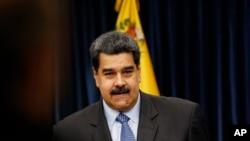 委內瑞拉總統馬杜羅2018年9月18日在加拉加斯總統府的新聞發布會上。