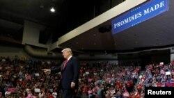 도널드 트럼프 미국 대통령이 9일 아이오와주 카운슬블러프스에서 열린 공화당 선거유세에 참석했다.