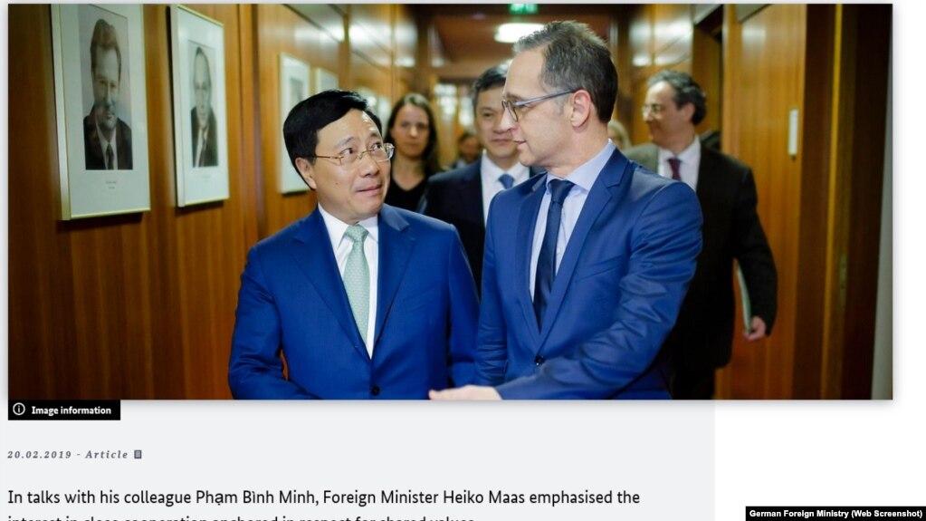 Ngoại trưởng Đức Heiko Maas và người đồng nhiệm Phạm Bình Minh trong cuộc gặp tại Berlin hồi tháng Hai.