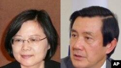 台湾总统马英九(右)、民进党主席蔡英文