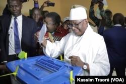 Malian president Ibrahim Boubacar Keita voting, during July 29, 2018 presidential election.