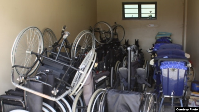 Wheelchairs piled into a storage room near Zithulele Hospital … Therapist Shannon Morgan says the wheelchairs aren't suitable for rough local terrain (Photo:D.Taylor)