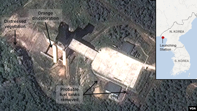 A satellite image provided by DigitalGlobe shows a facility in Sohai, North Korea where analysts believe rocket engines have been tested.