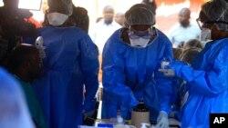 Ma'aikatan kiwon ladiya daga hukumar kiwon lafiya ta duniya da suke aiki a Congo domin kawar da cutar ebola