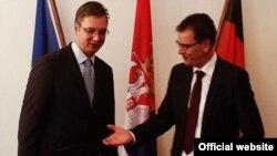 Premijer Srbije Aleksandar Vučić nakon sastanka sa nemačkim ministrom za ekonomsku saradnju i razvoj Gerdom Milerom.