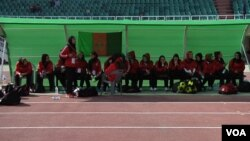 FILE - Afghan women soccer players at the South Asian Football Federation Championship in Islamabad. (Ayaz Gul/VOA)
