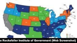 Карта США c классификацией штатов по уровню среднедушевого платежного баланса в 2017 финансовом году. Оранжевым цветом выделены штаты с отрицательным платежным балансом (они отдают в бюджет больше, чем получают из него). Крупнейшие получатели федеральных субсидий с положительным балансом больше 3500 долларов на каждого жителя обозначены на карте синим цветом, в 2017 году насчитывалось 19 таких штатов.