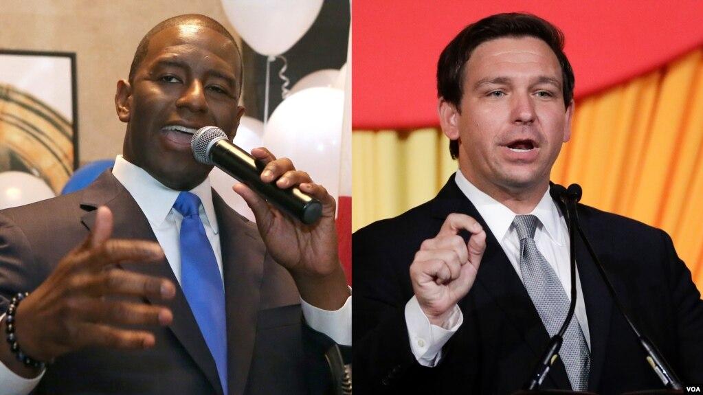 Ứng cử viên Andrew Gillum (trái) và Ron DeSantis.