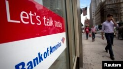 FILE - A Bank Of America location is pictured in the Manhattan borough of New York Aug. 21, 2014.