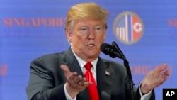 도널드 트럼프 미국 대통령이 지난 6월 싱가포르에서 첫 미북정상회담을 마친 후 별도의 기자회견을 했다.