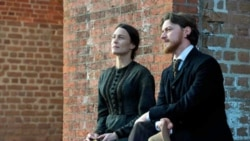 Robin Wright portrays Mary Surratt and James McAvoy takes on the role of attorney Frederick Aiken in 'The Conspirator.'