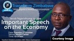 Umkhokheli webandla leTransform Zimbabwe, uMnu. Jacob Ngarivhume.