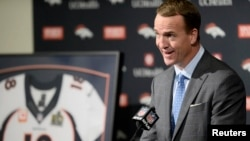 Denver Broncos quarterback Peyton Manning speaks during his retirement announcement press conference at the UCHealth Training Center, Englewood, Colorado, March 7, 2016.
