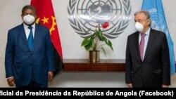João Lourenço (esq), Presidente de Angola, e António Guterres (dir), secretário-geral da ONU, Nova Iorque
