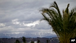 The Caucasus Mountains, site of several 2014 Winter Olympic events, rise in the background as a palm tree stands in the Coastal Cluster's Olympic Park in Sochi, Russia, Jan. 30, 2014.