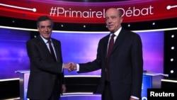 فرانسوا فیون (چپ) و آلن ژوپه (راست) دو رقیب انتخابات مقدماتی حزب جمهوریخواه فرانسه