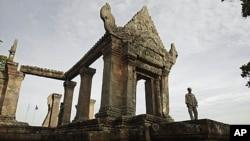 FILE - A Cambodian temple security guard stands at Preah Vihear temple, Cambodia, file photo.