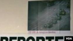 El grupo Reporteros sin Fronteras presentó las imágenes de Herve Ghesquiere y Stephane Taponier.