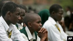 FILE - Students at Jamhuri High School in Nairobi, Kenya, are seen listening to a speech, Feb. 11, 2008. Newly-released results show that just 15 percent of the more than half-million students who in 2016 applied to enter university passed the entrance exam.