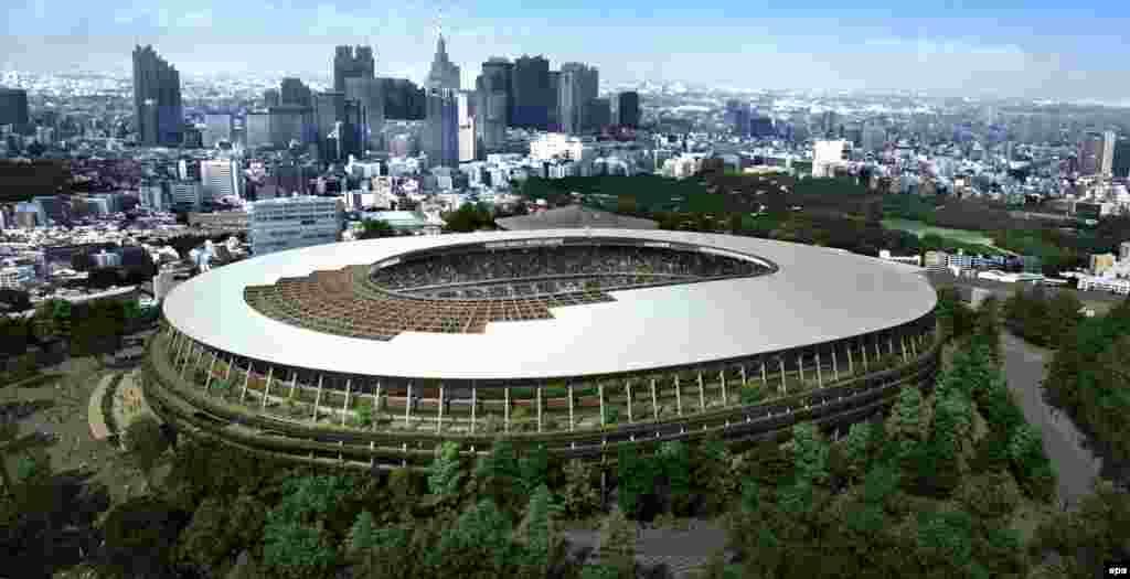 将为2020年东京奥运会建造的体育场的艺术构想图片。尽管当局努力节约这场奥运会的费用,预计费用仍将超过当初预估的将近一倍,从2013年的66亿美元增加到126亿美元。本图集后面有一些关于奥运的照片和信息。
