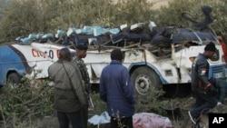 2013年8月29日纳罗克重大车祸中被毁的公交车