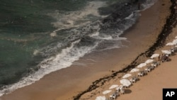 In this Aug. 8, 2019, photo, garbage creeps towards the shore at Stanley Beach in Alexandria, Egypt. (AP Photo/Maya Alleruzzo)