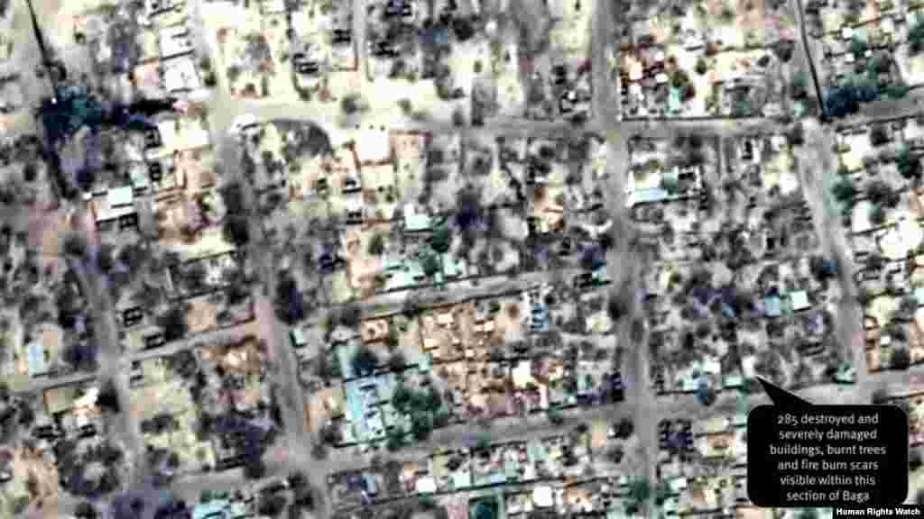 Post-violence view of concentration of building damages, as of April 26, 2013. 285 destroyed and severely damaged buildings, burnt trees and fire burn scars visible within this section of Baga.