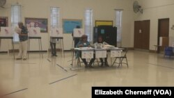 Voting in Tuesday's primary takes place at Watkins Mill Elementary School in Montgomery Village, Maryland, April 26, 2016.