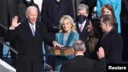 拜登 (Joe Biden) 2021年1月20日宣誓就任美國第46任總統。(路透社)