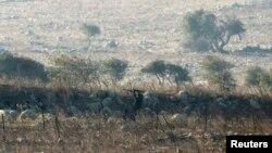 Seorang pemberontak menembak dalam pertarungan dengan tentara Suriah di dekat Dataran Tinggi Golan (1/9). (Reuters/Baz Ratner)