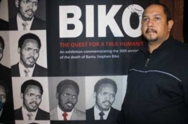 Museum curator Chris du Preez, near an exhibit focusing on murdered Black Consciousness leader, Steve Biko