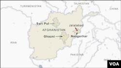 Letak kawasan Nangarhar, Sari Pul dan provinsi Ghazni di Afghanistan.