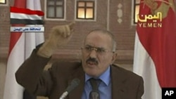 Yemen's President Ali Abdullah Saleh delivers his speech on state television in this still image taken from video, October 8, 2011.