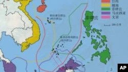 各國南中國海主權要求範圍示意圖。
